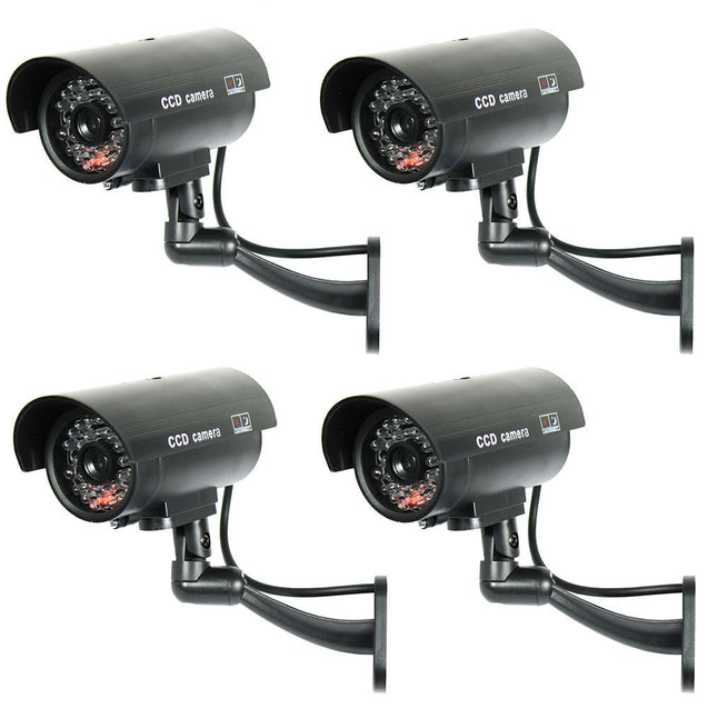 4 Pack IR Bullet Dummy Fake Surveillance Security Camera CCTV with Record Light - Anyvolume.com