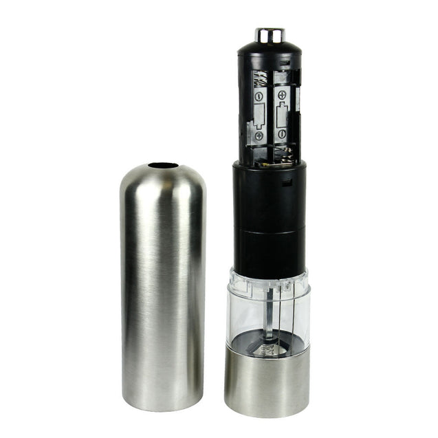 Stainless Steel Powered Kitchen Pepper Mill Spice Salt Grinder with LED Light - Anyvolume.com