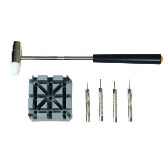 Watch Repair Band Link Remover Tool Kit - Hammer Punch Pins Watch Strap Holder - Anyvolume.com