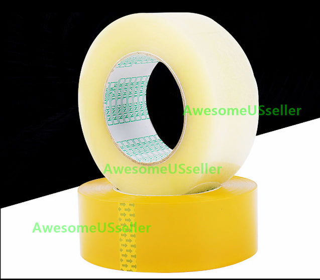 "2 Rolls of Clear Packing Shipping Tape Strong 1.65"" X 218Yards/656ft 35mm thick"