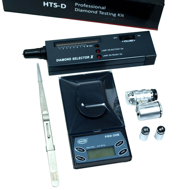 Jeweler diamond tool kit : 0.001g Digital Scale + Tester  + Loupe + Tweezers - Anyvolume.com