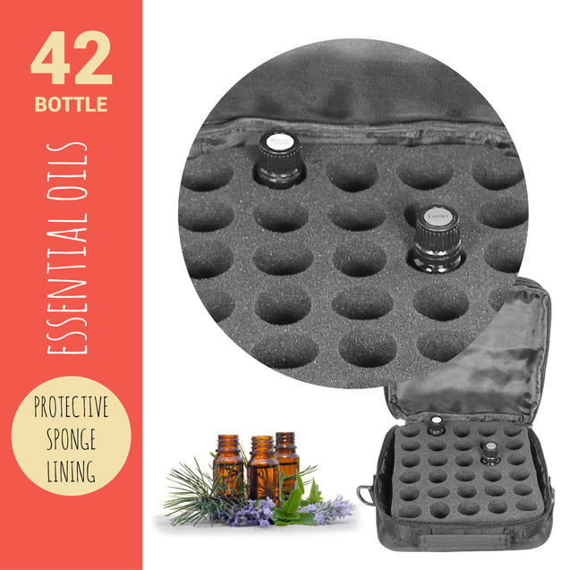 42 Bottle Essential Oil Carry Case 5ML~15ML Storage Aromatherapy Bag Black