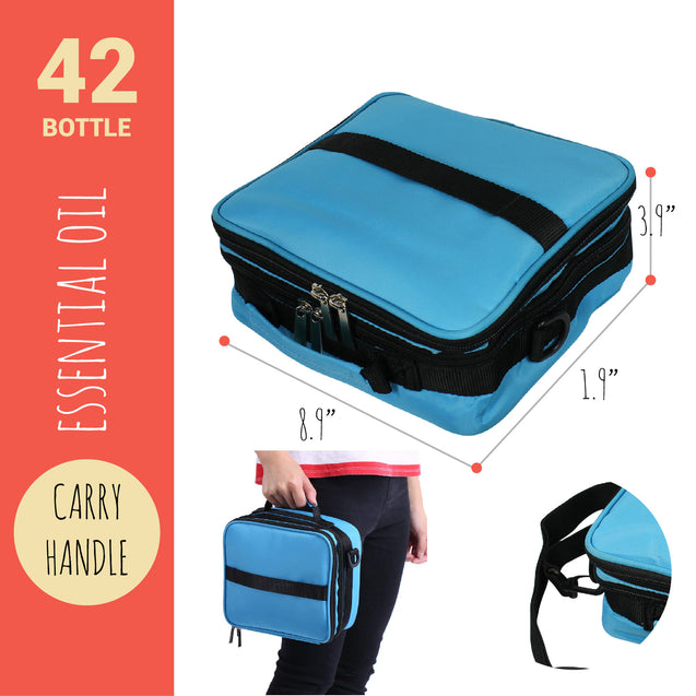 42 Bottle Essential Oil Carry Case 5ML~15ML Storage Aromatherapy Bag Blue FrShip