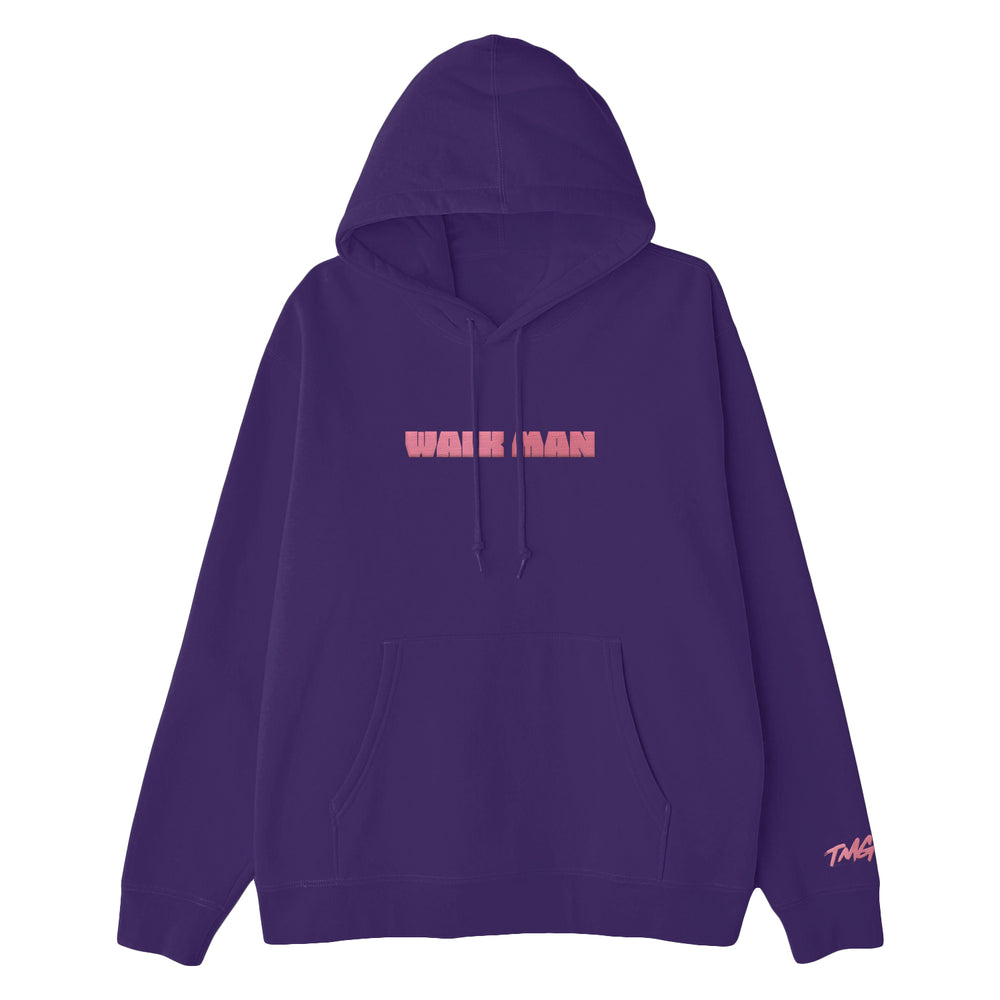 Walk Man Embroidered Purple Hoodie