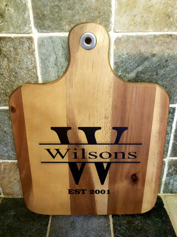 Personalised Family Name large Paddle Chopping/serving board