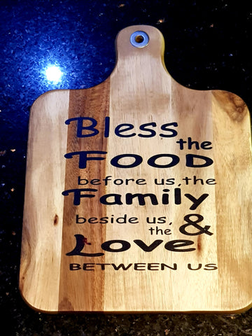 Wooden Bless the food Large serving/chopping paddle Board