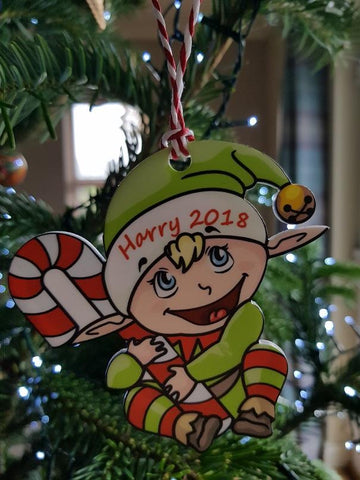 Elf Personalised Christmas Tree Bauble