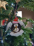 Penguin Personalised Angel Christmas Tree Bauble