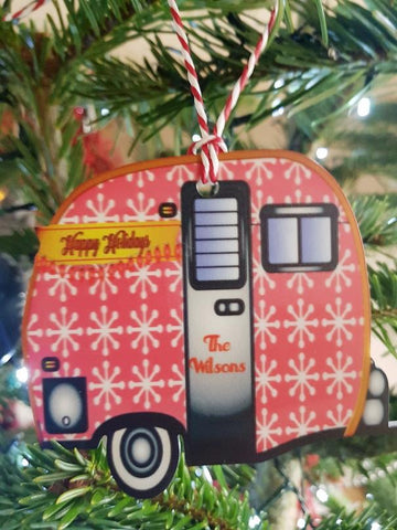 Caravan Personalised Christmas Tree Bauble