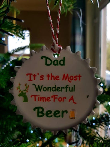 Beer Lid Personalised Christmas tree Bauble