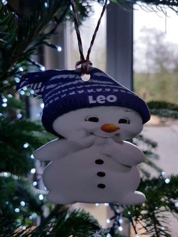 Snowman Personalised Christmas Tree Bauble