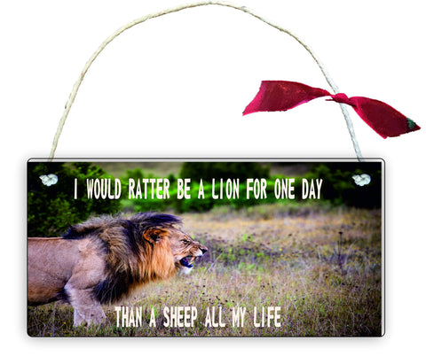 Wooden Gift Hanging Wall Door Sign Plaque Decoration i would rather be a lion GP16