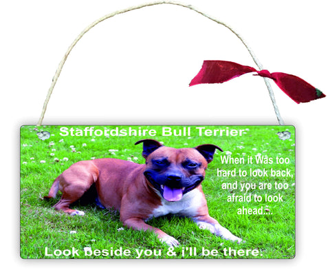 GP55 Gift Hanging Wall Door Sign Plaque Decoration Staffordshire Bull Terrier When it Was too hard