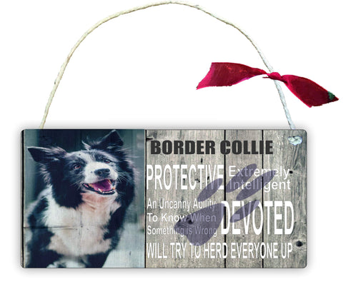 GP32 Gift Hanging Wall Door Sign Plaque Decoration Border Collie Protective extremely intelligent