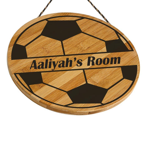 Aaliyah Customised Football Wooden Door Sign Gift Personalised with Any Name
