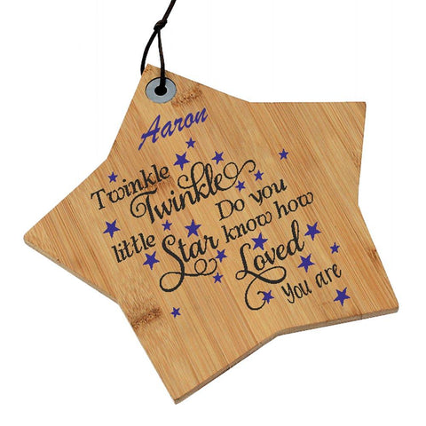 Aaron Personalised Nursery Twinkle Twinkle Little Wooden Star Personalised with Any Name