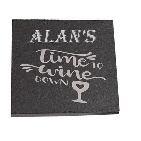 Alan Personalised Slate Coaster gift Time To Wine Down Personalised with Any Name