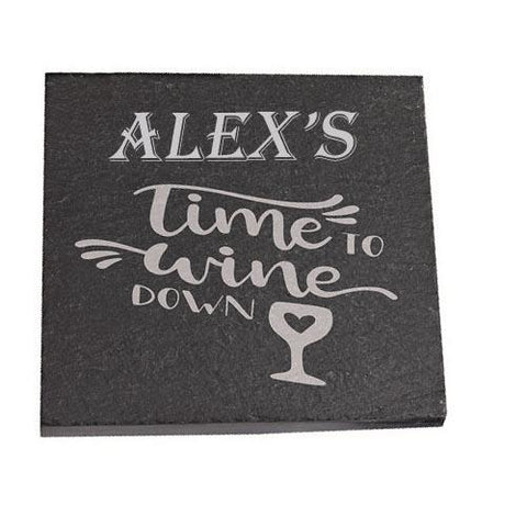 Alex Personalised Slate Coaster gift Time To Wine Down