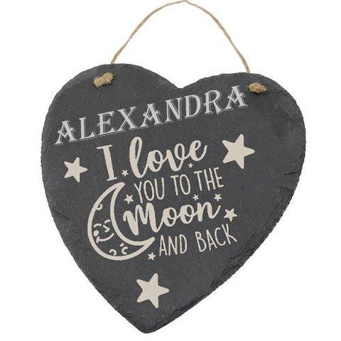 Alexandra Customised Gift Slate Heart I Love you to The Moon And Back Personalised with Any Name