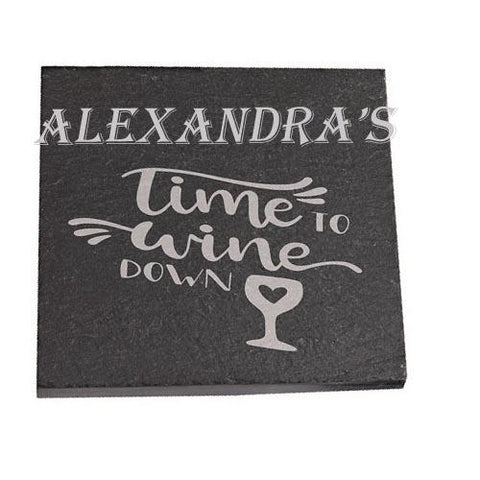 Alexandra Personalised Slate Coaster gift Time To Wine Down Personalised with Any Name