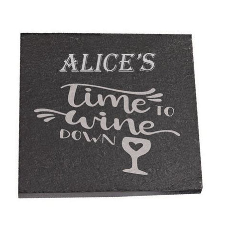 Alice Personalised Slate Coaster gift Time To Wine Down Personalised with Any Name