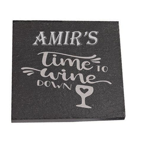 Amir Personalised Slate Coaster gift Time To Wine Down Personalised with Any Name