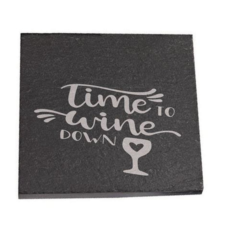 Amy Personalised Slate Coaster gift Time To Wine Down Personalised with Any Name