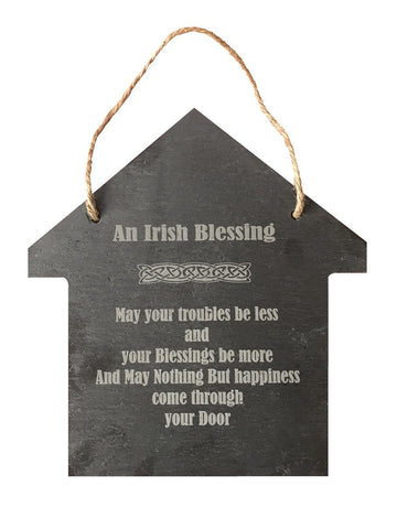 Large Slate House Hanging Wall Sign Decor - An Irish Blessing Saying