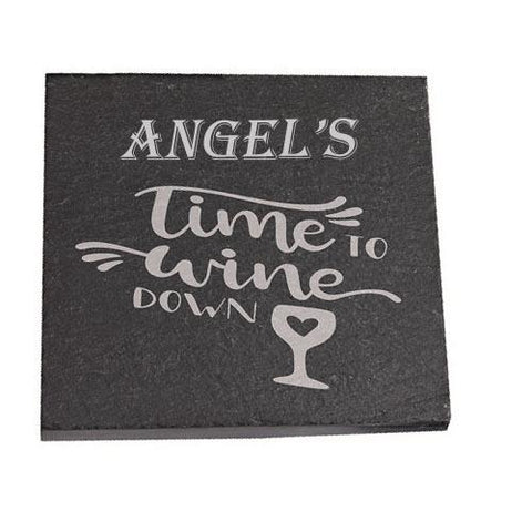 Angel Personalised Slate Coaster gift Time To Wine Down Personalised with Any Name