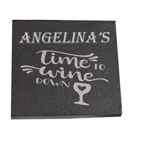 Angelina Personalised Slate Coaster gift Time To Wine Down Personalised with Any Name