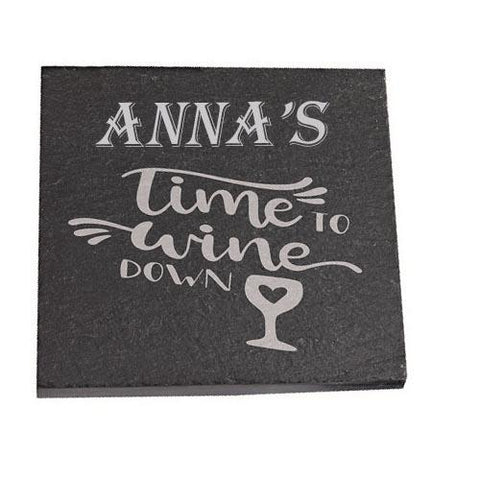 Anna Personalised Slate Coaster gift Time To Wine Down Personalised with Any Name