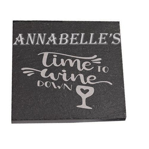 Annabelle Personalised Slate Coaster gift Time To Wine Down Personalised with Any Name