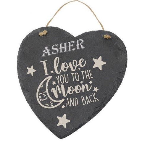 Asher Customised Gift Slate Heart I Love you to The Moon And Back Personalised with Any Name