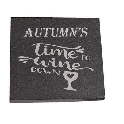 Autumn Personalised Slate Coaster gift Time To Wine Down Personalised with Any Name