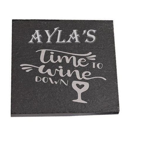Ayla Personalised Slate Coaster gift Time To Wine Down Personalised with Any Name