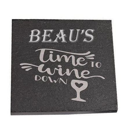 Beau Personalised Slate Coaster gift Time To Wine Down Personalised with Any Name
