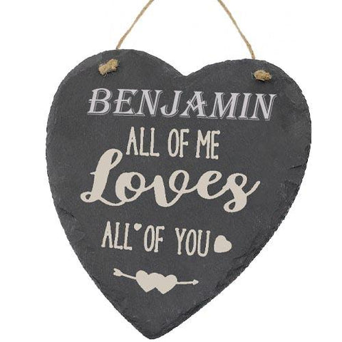 Benjamin Valentines Gift Love Heart All of Me Loves All Of You Personalised with Any Name