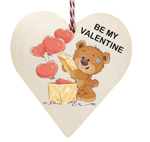 Be My Valentine Teddy Bear with Ballons Wooden Hanging Love Heart Valentines Gift