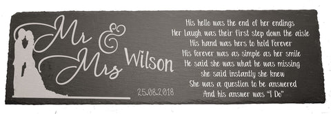 PERSONALISED Mr & Mrs Sign Engraved Slate board Wedding Day Date Poem Couple