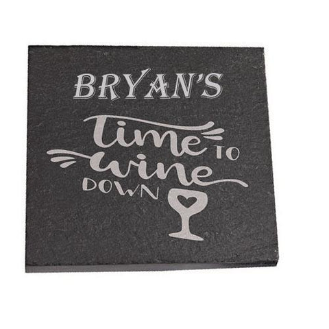 Bryan Personalised Slate Coaster gift Time To Wine Down Personalised with Any Name