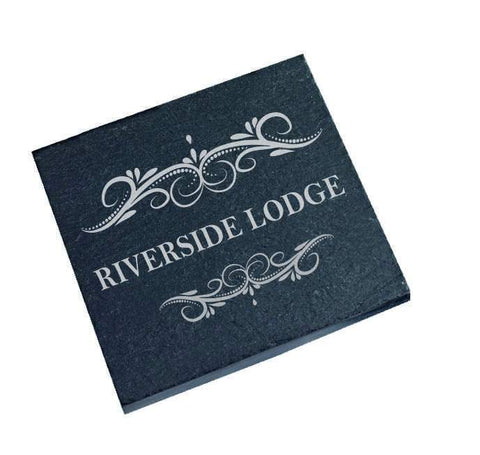 Personalised engraved Slate coaster House Name Holiday cottage Home Apartment