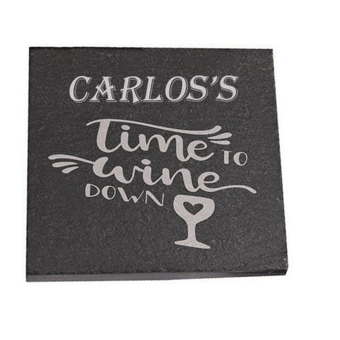 Carlos Personalised Slate Coaster gift Time To Wine Down Personalised with Any Name