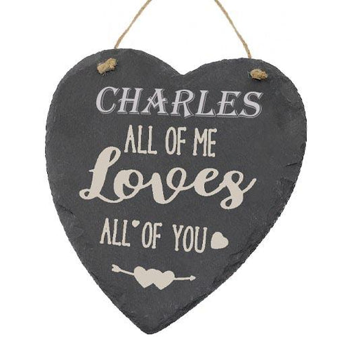 Charles Valentines Gift Love Heart All of Me Loves All Of You Personalised with Any Name