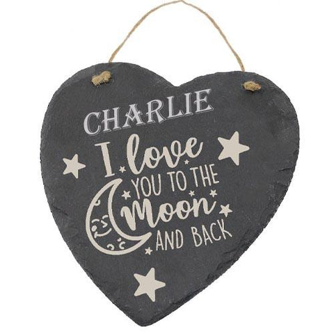 Charlie Customised Gift Slate Heart I Love you to The Moon And Back Personalised with Any Name