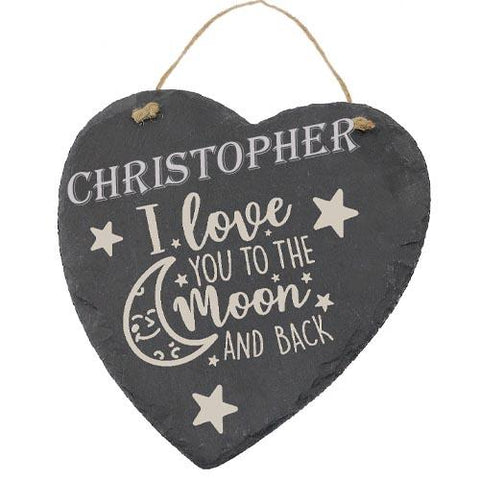 Christopher Customised Gift Slate Heart I Love you to The Moon And Back Personalised with Any Name