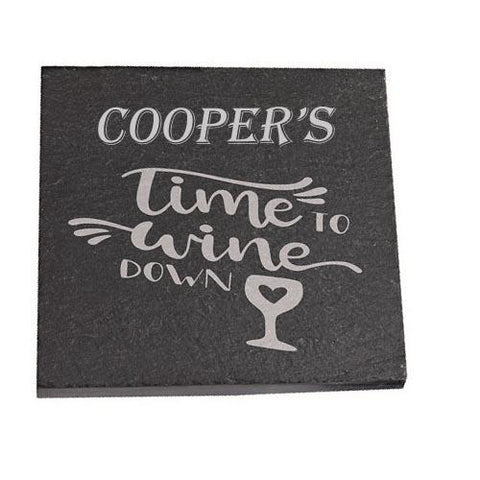 Cooper Personalised Slate Coaster gift Time To Wine Down Personalised with Any Name