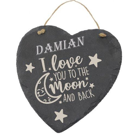 Damian Customised Gift Slate Heart I Love you to The Moon And Back Personalised with Any Name