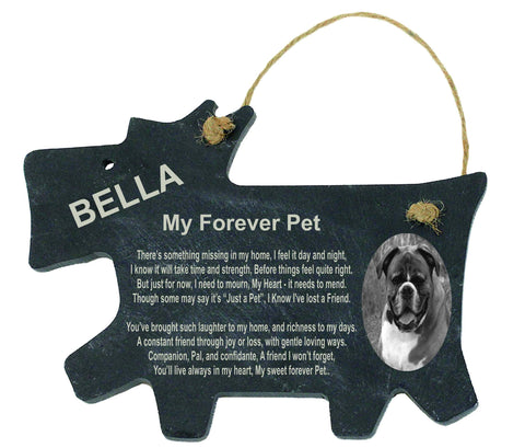 Dog Memorial Personalised Slate Encapsulated Oval Picture - MY Forever Pet