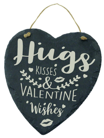 Large Engraved Slate Hanging Heart Valentines Gift Hugs & Kisses & Valentine wishes