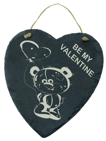 Large Engraved Slate Hanging Heart Valentines Gift Be My Valentine Teddy Bear